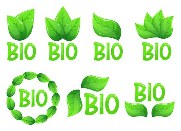 Illustration de conception de logo emblème bio isolée