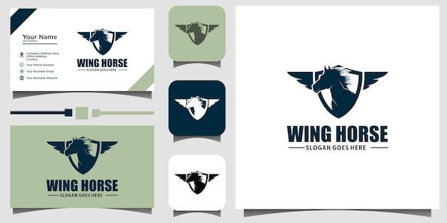 Illustration de conception de logo emblème cheval volant avec arrière-plan du modèle de carte de visite
