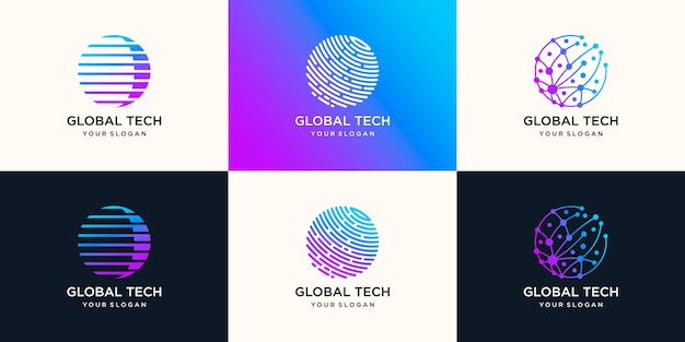 Illustration de conception de logo global tech