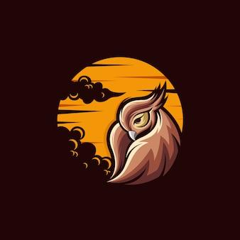 Illustration de conception de logo de hibou