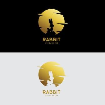 Illustration de conception de logo de lune de lapin