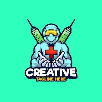 Illustration de conception de logo de mascotte d'agent de santé de virus