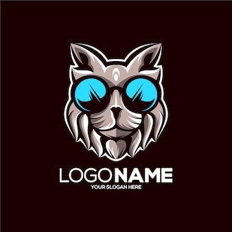 Illustration De Conception De Logo De Mascotte De Chat Génial Vecteur Premium