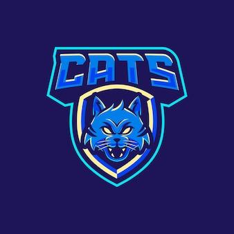 Illustration de conception de logo de mascotte de chats