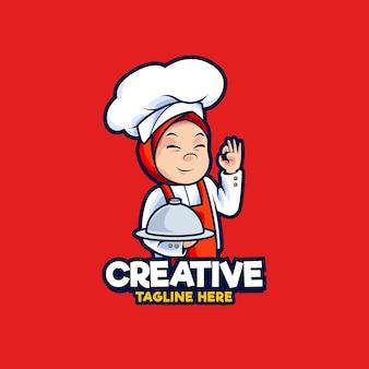 Illustration de conception de logo de mascotte de chef de femmes musulmanes
