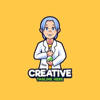 Illustration de conception de logo de mascotte de chercheurs scientifiques