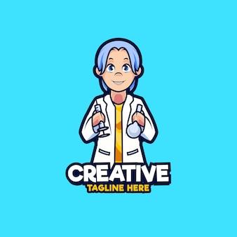Illustration de conception de logo de mascotte de docteur de vaccin