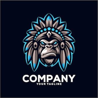 Illustration de conception de logo de mascotte de gorille indien impressionnant