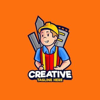 Illustration de conception de logo de mascotte d'ingénieur de construction