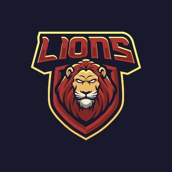Illustration de conception de logo de mascotte de lions pour l'équipe de sport ou d'e-sport