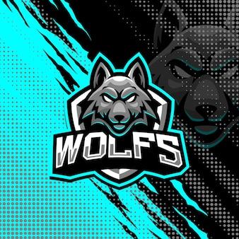 Illustration de conception de logo de mascotte de loups
