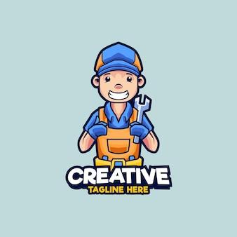Illustration de conception de logo de mascotte de mécanicien d'atelier