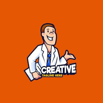 Illustration de conception de logo de mascotte de réceptionniste de clinique de docteur