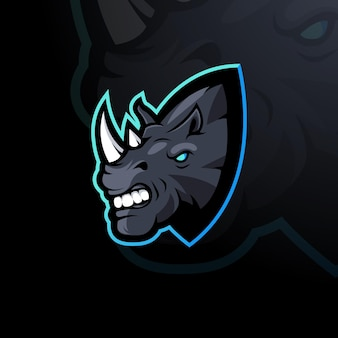 Illustration de conception de logo de mascotte de rhinocéros