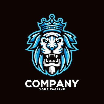 Illustration de conception de logo de mascotte de roi lion génial