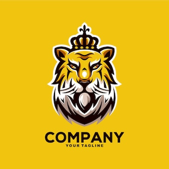 Illustration de conception de logo de mascotte de roi tigre génial