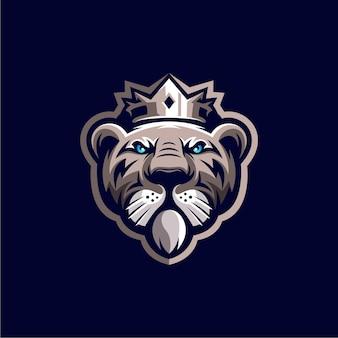 Illustration de conception de logo de mascotte de roi tigre génial
