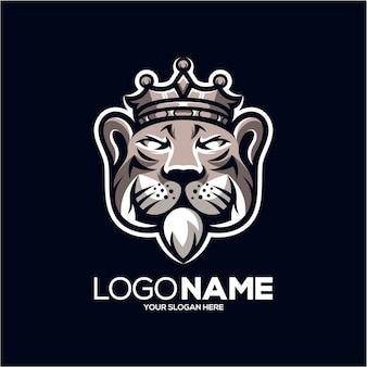 Illustration De Conception De Logo Mascotte Roi Tigre Vecteur Premium