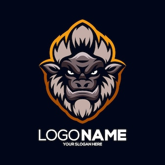 Illustration de conception de logo de mascotte de singe