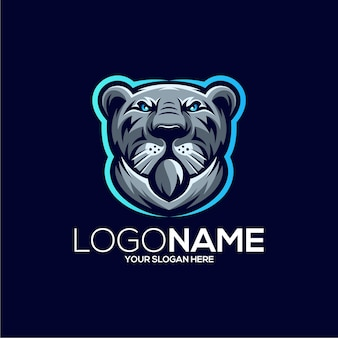 Illustration de conception de logo de mascotte de tigre génial