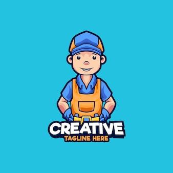 Illustration de conception de logo de mascotte de travailleurs d'entretien et de réparation généraux