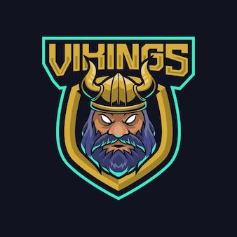 Illustration de conception de logo de mascotte de vikings pour l'équipe de sport ou d'e-sport