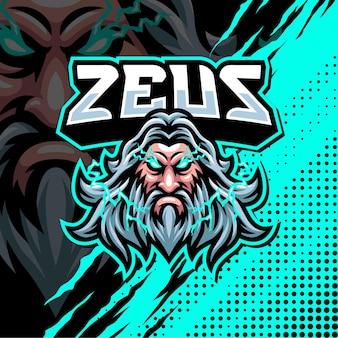 Illustration de conception de logo de mascotte zeus