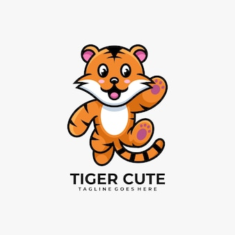 Illustration de conception de logo mignon dessin animé tigre