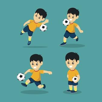 Illustration de conception de logo mignon joueur de football mascotte