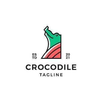 Illustration de conception de logo mignon tête crocodile