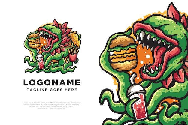 Illustration de conception de logo de monstre alimentaire