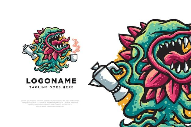 Illustration de conception de logo de monstre de café