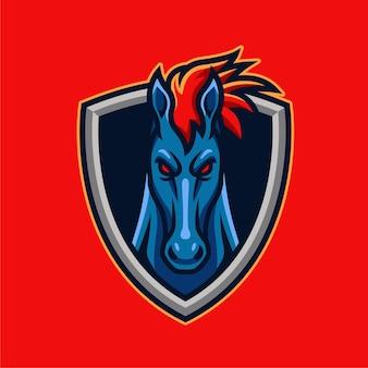Illustration de conception de logo de personnage de mascotte de cheval