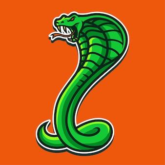 Illustration de conception de logo de personnage de mascotte cobra