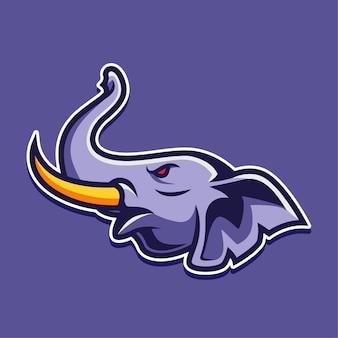 Illustration de conception de logo de personnage de mascotte d'éléphant