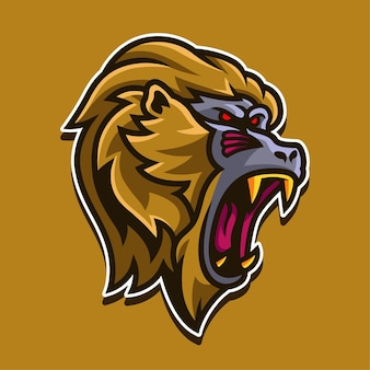 Illustration de conception de logo de personnage de mascotte de singe doré