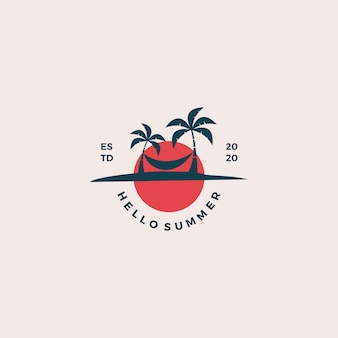 Illustration de conception de logo de plage bonjour été