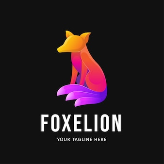 Illustration de conception de logo de renard coloré