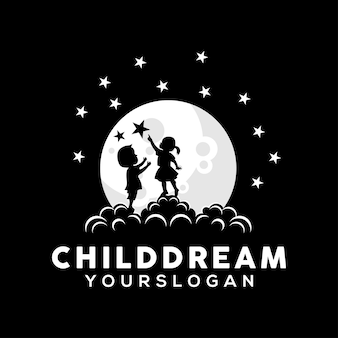 Illustration de conception de logo de rêve d'enfant