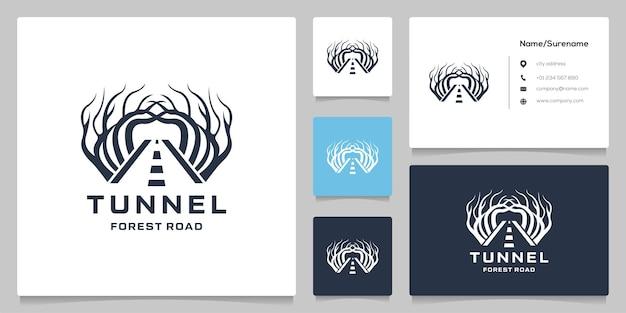 Illustration de conception de logo de route de rue tunnel darbre