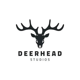 Illustration de conception de logo de studio tête de cerf