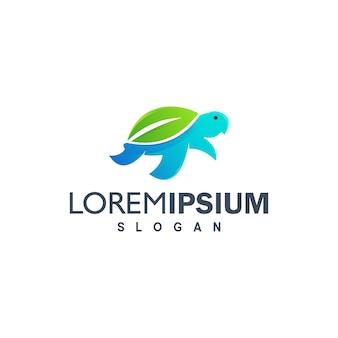 Illustration de conception logo tortue colorée