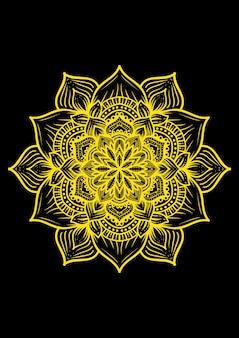 Illustration de la conception de mandala avec des lignes d'or