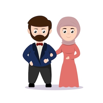 Illustration de conception de mascotte couple juste marié