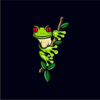 Illustration de conception de mascotte grenouille géniale
