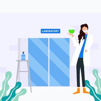 Illustration de conception d'un médecin tenant un vaccin devant le laboratoire