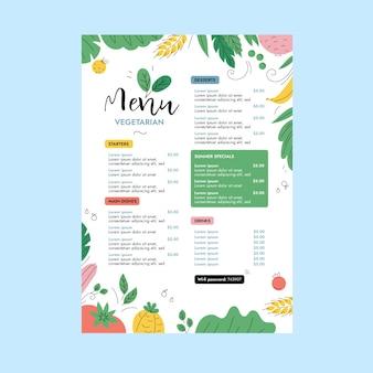 Illustration de conception de menu végétarien coloré