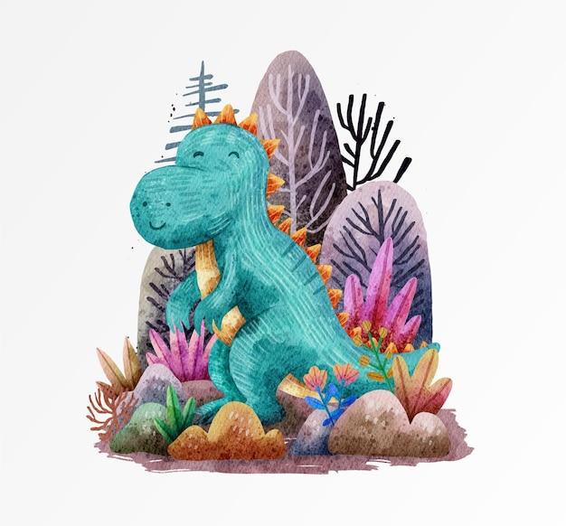 Illustration de conception mignonne de dinosaure avec aquarelle