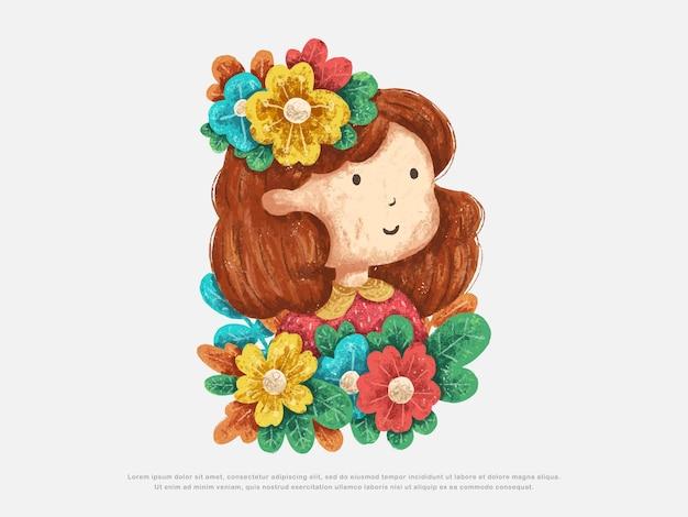 Illustration de conception mignonne petite fille