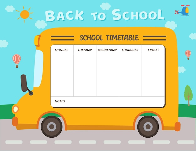 Illustration conception de modèle de calendrier scolaire avec fond d'autobus scolaire.